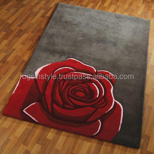 classic rose design 100% polyester shaggy 3d rose door rug and carpet