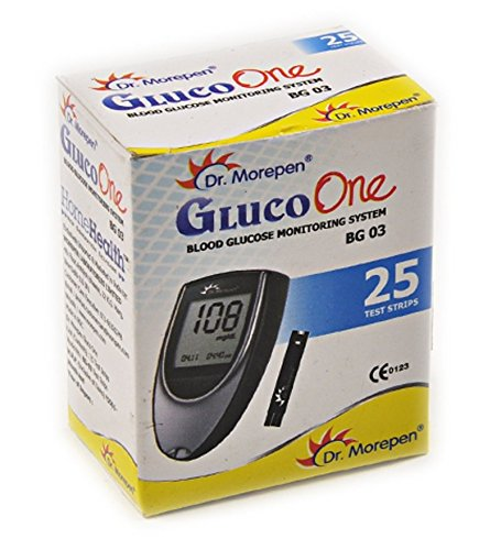 Dr Morepen BG-03 Blood Glucose Test Strips, Pack of 25 (Only Strips, No Glucometer)