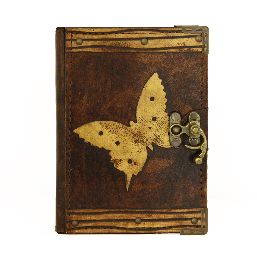 Butterfly Decoration on a Brown Refillable Leather Journal / Notebook / Diary / Sketchbook / Handmade