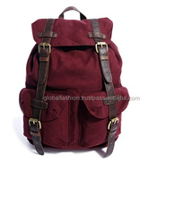 canvas leather backpack with contrast straps/high quality canvas genuine leather canvas backpack/wholesale canvas back pack bag