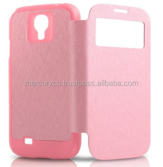 PU leather flip case Mercury Wow bumper cover (Pink)
