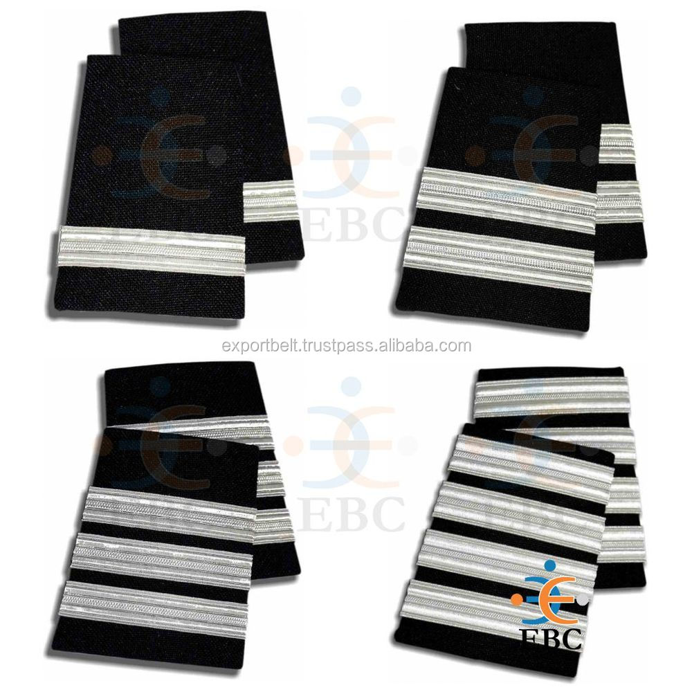 Epaulet 4 Stripe Bars, Captain's bars, Gold, silver, yellow or Black or Navy board (White braid on darker Midnight Blue)