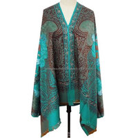 Traditional Blue Shawl Wool Blend Women Gifted Wrap Handmade Embroidered Scarf SHW767