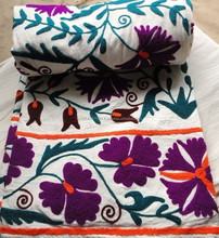 UZBEK PURE COTTON EMBROIDERED SUZANI BED COVER COLOURFUL TWIN SIZE BED THROW Bedspread Indian manufacturer And Wholesaler