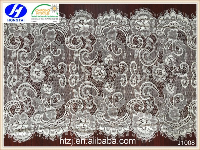 Hongtai fashion double eyelash flower eyelet knitted polyester lace trim wholesale for dress decoration
