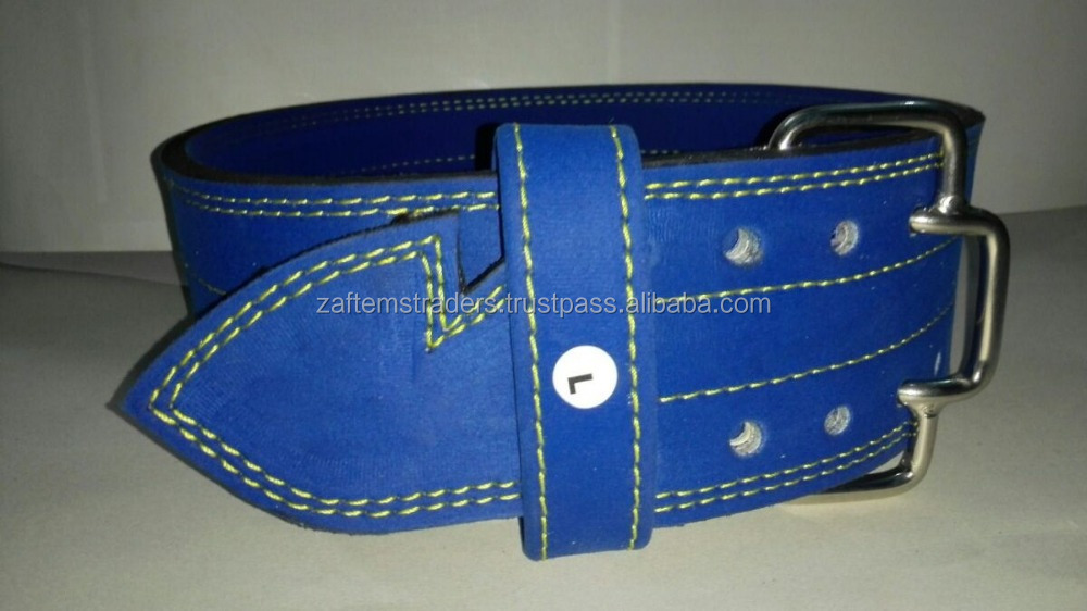 stylish blue Leather Power Weightlifting Belt with yellow stitch / Weightlifting belts / Power ...