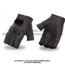 Lightweight Unlined Classic Fingerless Glove, Perforated Panels and Adjustable Wrist Strap