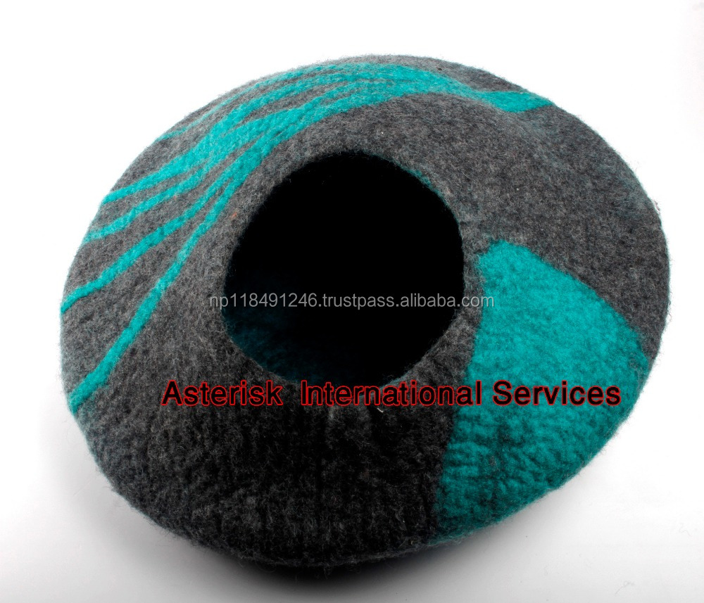 Handmade Felted Wool House Cat Cave Bed for Cats and Kittens - Ethical Pets Sleep Zone Cuddle Cave Pet Bed
