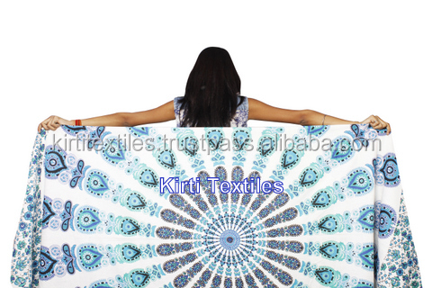 KT-602 Beautiful new Peacock feather Mandala Printed Tapestry Traditional Jaipur color, Bohemian Printed blanket throw Bed sheet