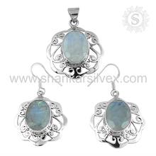 Blue shimmering rainbow moonstone 925 sterling silver jewelry set indian silver jewelry handmade silver jewelry wholesaler