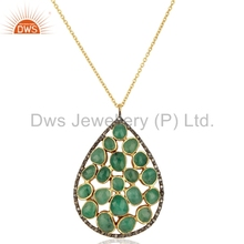 Designer Solid Yellow Gold Pave Diamond Chain Pendant Natural Emerald GEmstone Wedding Chain Pendant Jewelry