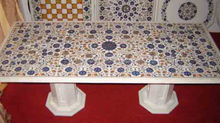 Semi Precious Gemstone Inlaid Marble Dinning Table Top Pietra Dura Art Work