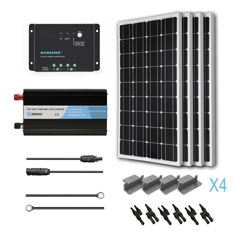 Panel Complete Kit 400W Mono: Four 100W Mono Solar Panel UL 1703 Listed+One