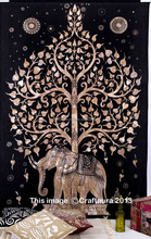 "55X85"" Elephant Tree of Life Tapestry Wall Hanging Indian Tapestries Twin Bedspread Hippie Beach Throw Wall Decor Wholesale Art"