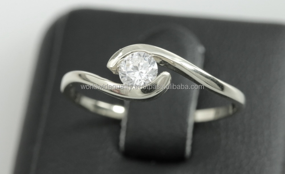 Solitaire gift white gold 8k bangkok jewellery 1 gram gold ring gold jewellery
