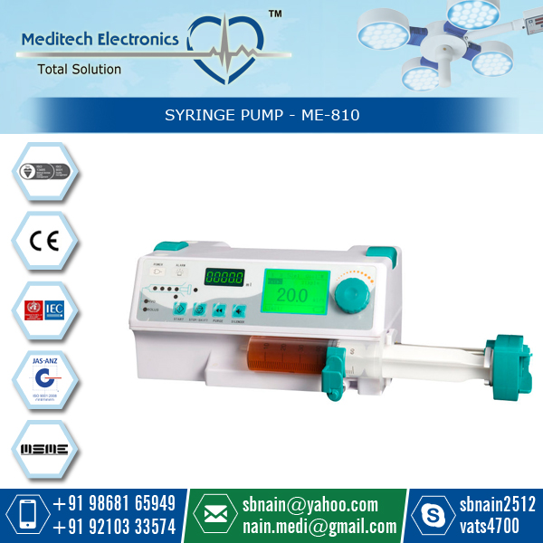 Digital LED Screen Accurate ME 410 Syringe Pump having a wide range of clinical applications.