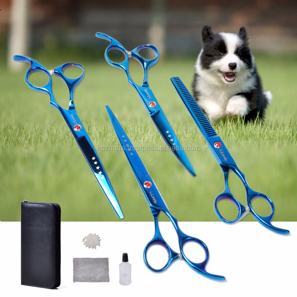 4* Pro PET DOG Grooming Hair Cutting thinning Scissors set Curved Tool Shears 7""