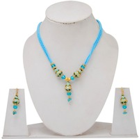 Wholesale Rajasthani Traditional Kundan Meena Work Puwai Necklce With 4Layer Beads String