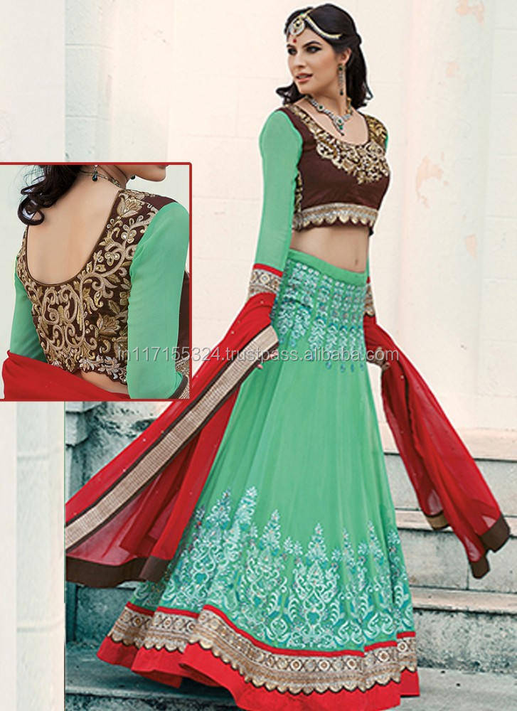 Lehenga choli brocket rasham work