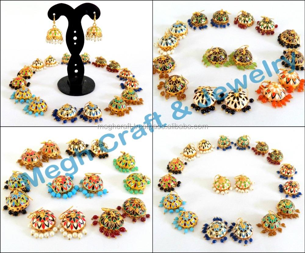 Wholesale Kundan Polaki Jhumka Meenakari Jhumka Earrings