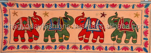 Indian Designer Suzani Tapestry,Vintage Decorative Art Cotton Table Cloth, Indian Throw Elephant Embroidered Decorative