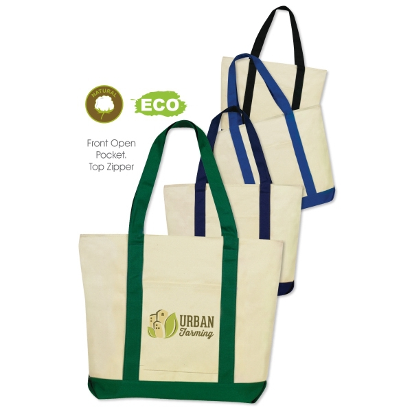 "Full Color Print Basic Boat Tote Bag - made from 12 oz cotton canvas, measures 16""H x 20""W x 5.5""D and comes with your logo."