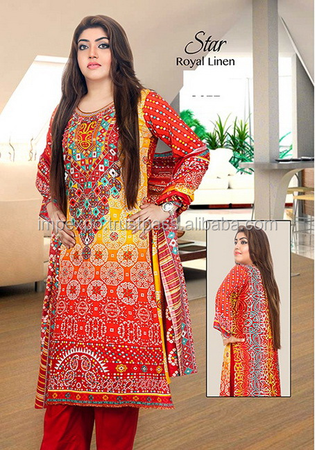 Ladies Designer Printed Lenin Suits