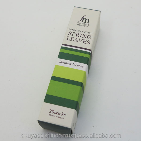 SPIRING LEAVES - Best fragrances from the best Japan incenses maker Nippon Kodo, FM series, 20 agarbatti incense stick