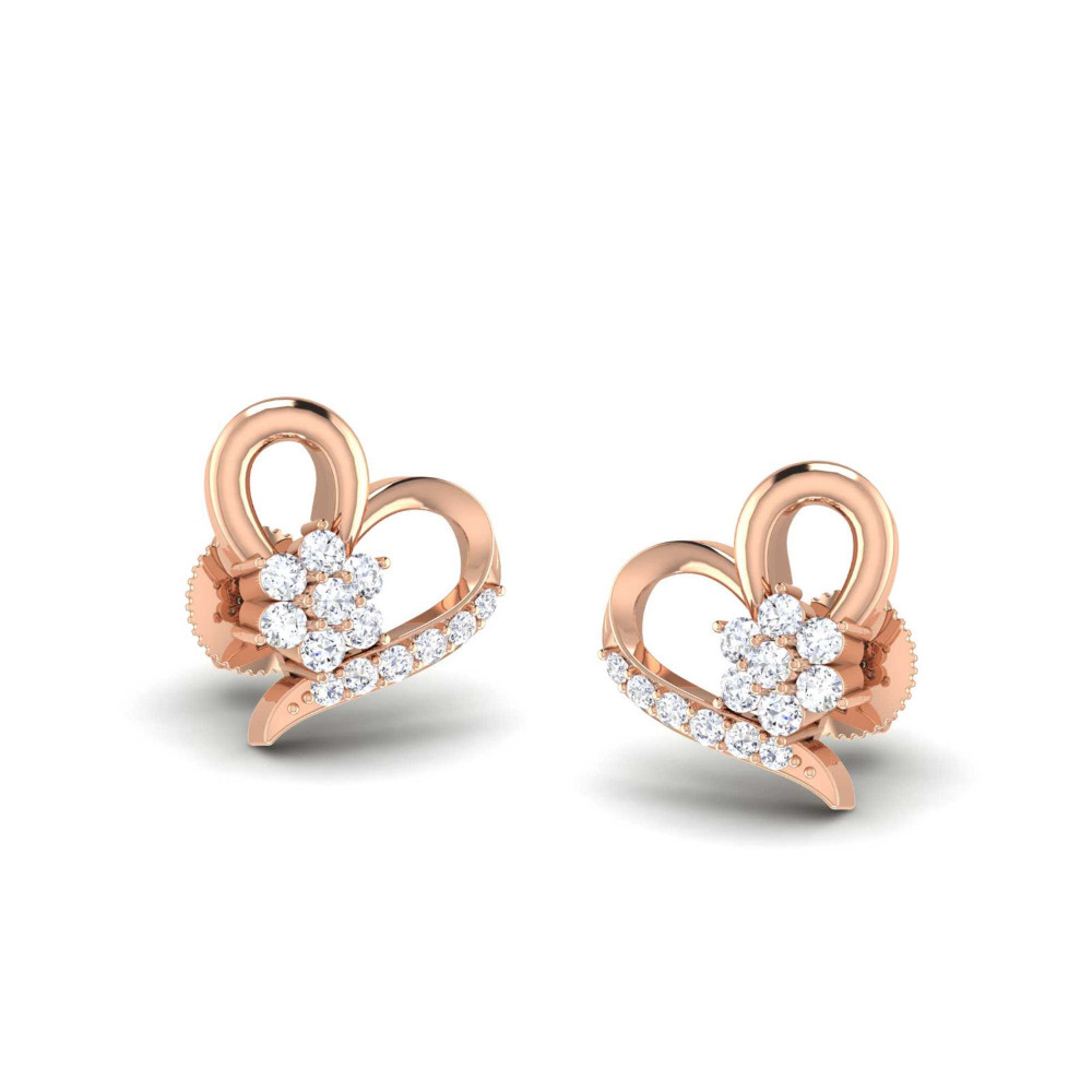 0.50ct Brilliant cut Real Diamond Heart Shape Rose Gold Earring in 14k Gold