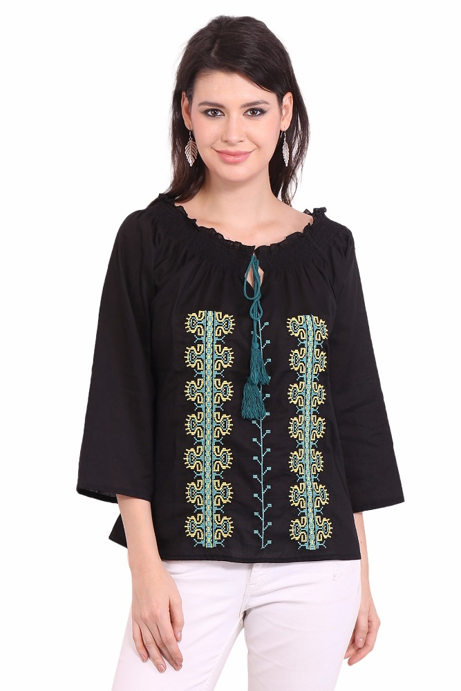 Ladies Wear Black Embroidered Blouses Vintage sari clothes