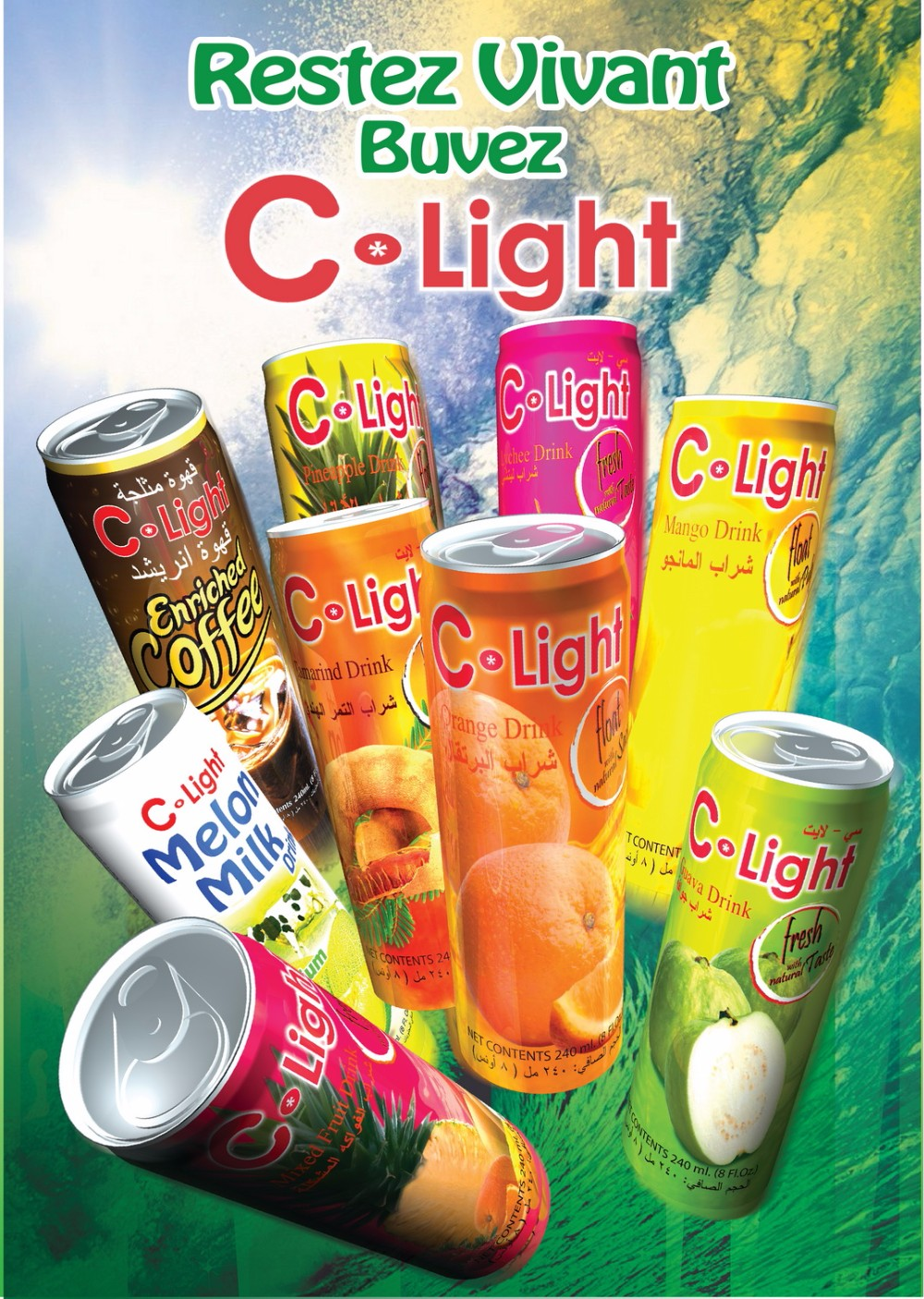 Fruit Drink Juice with Pulp Canned 240ml C-Light brand
