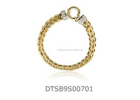 Twisted With CZ Studded Designer 14 kt Gold plated Bracelet