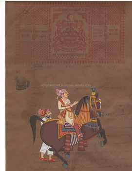 Vintage India Painting Handmade Rajput King Miniature Portrait colleteble Artwork old Court Fee Stamp Artist Hindu
