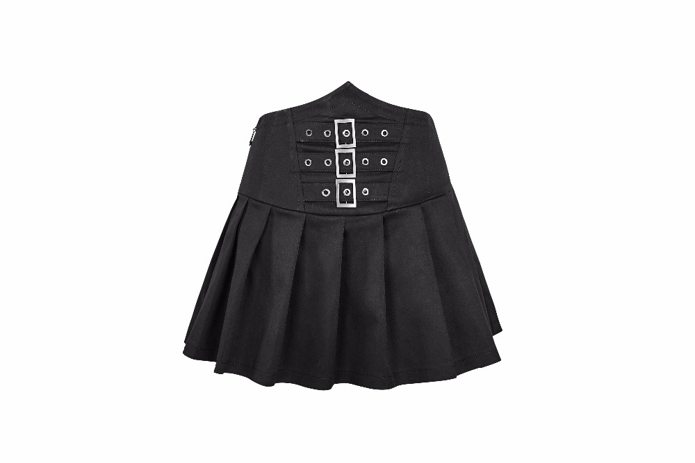 Gothic denim look high waist pleated buckled skirt