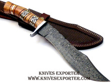 Custom Handmade Damascus Steel Hunting Knife, Olive Wood Handle with Brass Spacer & Guard