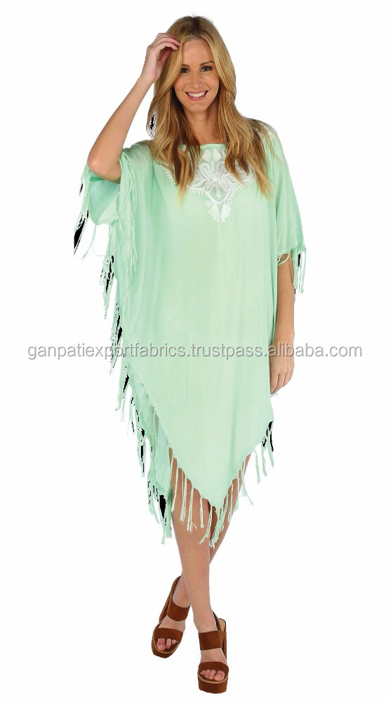 Exclusive Women's Beachwear Kaftan With Beautiful Embroidery Work With Fringes Sexy Beach Cover Ups