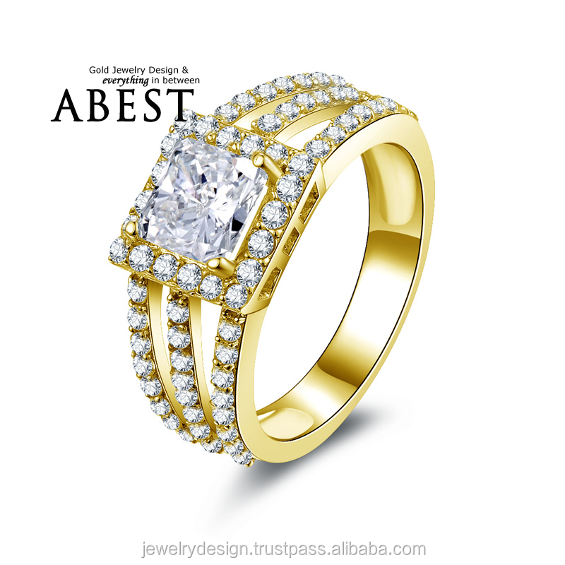 1.25 Carat Princess Shape Ring 10K Gold Yellow Ring Simulated Diamond Jewelry New Wedding Engagement Ring For Women Gift