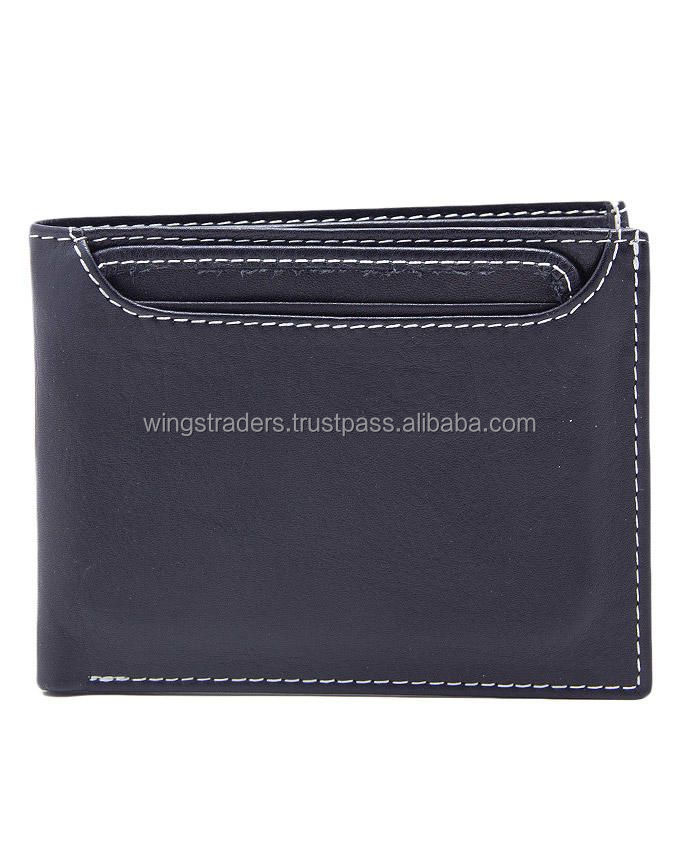 Leather Wallet - Gents in Black Color with 1 Flap Card Holder with 1 Pic Holder, Seprate Extra Card
