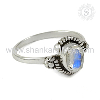 Appealing Rainbow Moonstone Ring Offer Indian Sterling Silver Ring Supplier 925 Silver Jewelry Wholesale