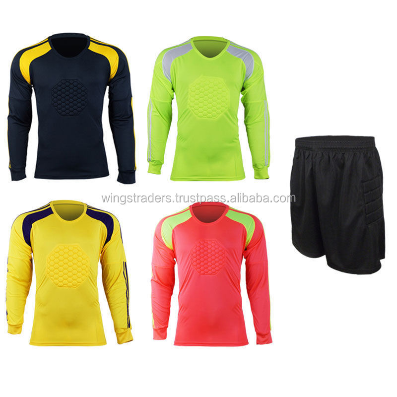 Mens Football Goalkeeper Soccer Shorts Shirt Keeper Foam Padded Jersey Uniforms