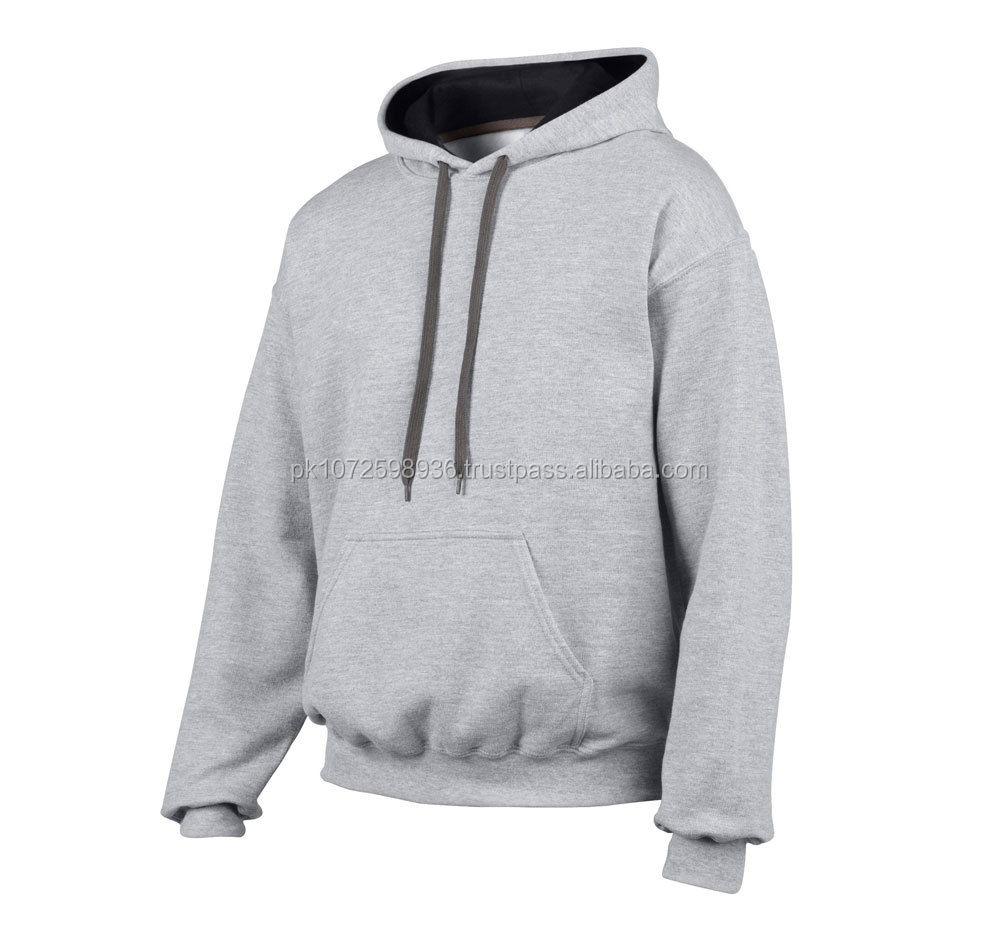 Gym top quality men sports wear plain track suit hoodie/ running bodybuilding hoodie with contrast drawstring