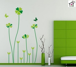SYGA GREEN TALL FLORAL PLANTS WALL STICKERS