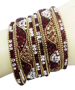 Maroon Gold Tone Bangle/Kangan Set Indian Women Wedding Jewelry 2*10 -BSB68A