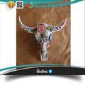 Custom Artificial Cow Skull Head Handpainted Flower Tribal Abstract