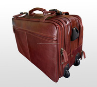 Stylish Handmade Genuine Leather Travel Trolley Bag / Leather Pilot Bag / Supplier Of Wholesale Trolley Bag For Unisex