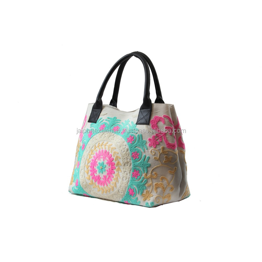 Indian Cotton Handmade Suzani Embroidered Women Shopping Cum Handbag