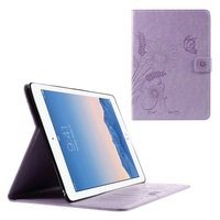 Wholesale Case for iPad Air, Butterfly Flowers Leather Stand Card Slot Cover for iPad Air 2 - Purple