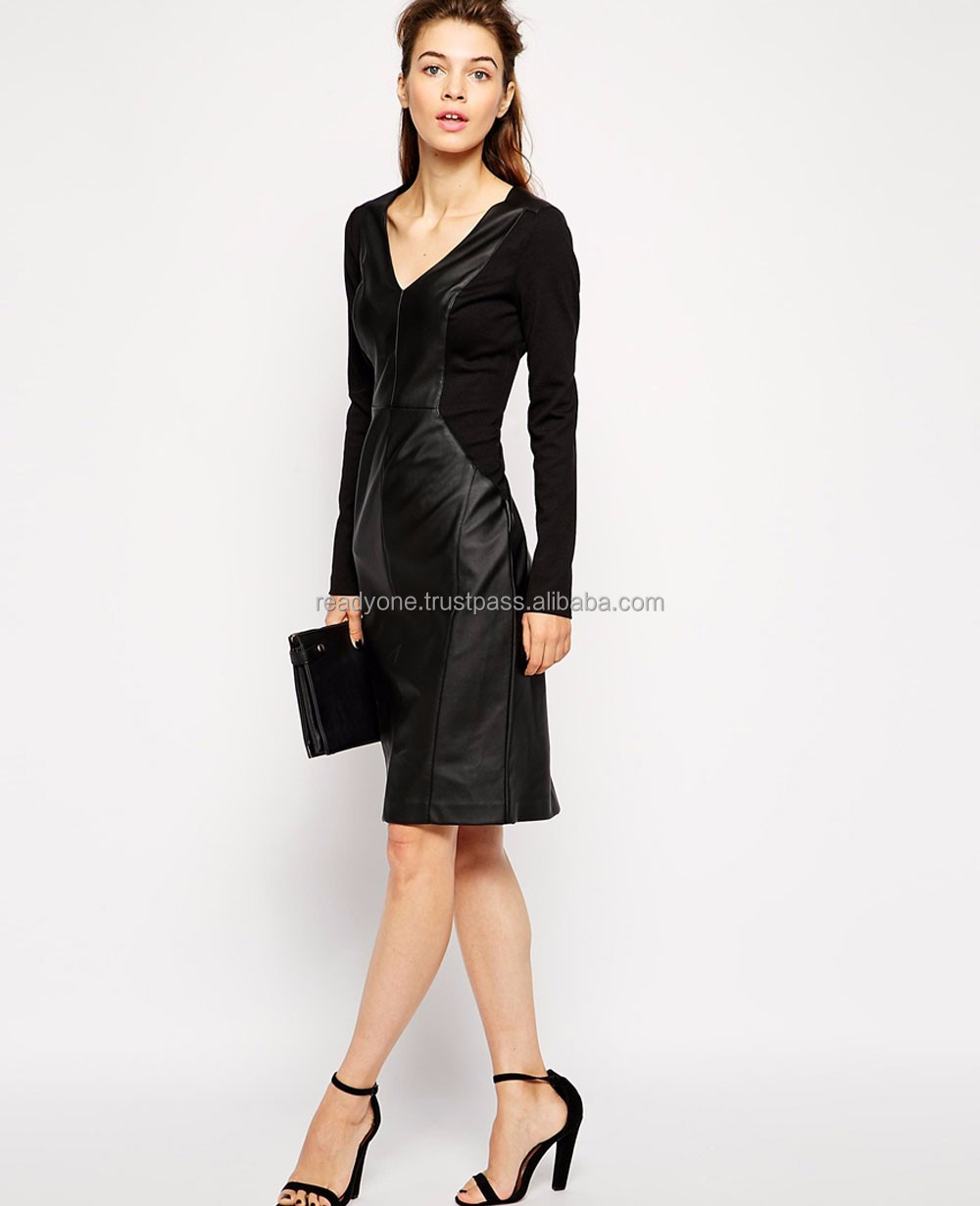 European style custom design slim fitted long black leather dress