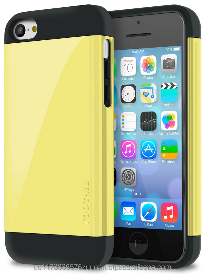 Dual Layer Armor Case, Slim Fit, Advanced Shock Absorption Technology for iPhone 5c roocase whole sale (Yellow)