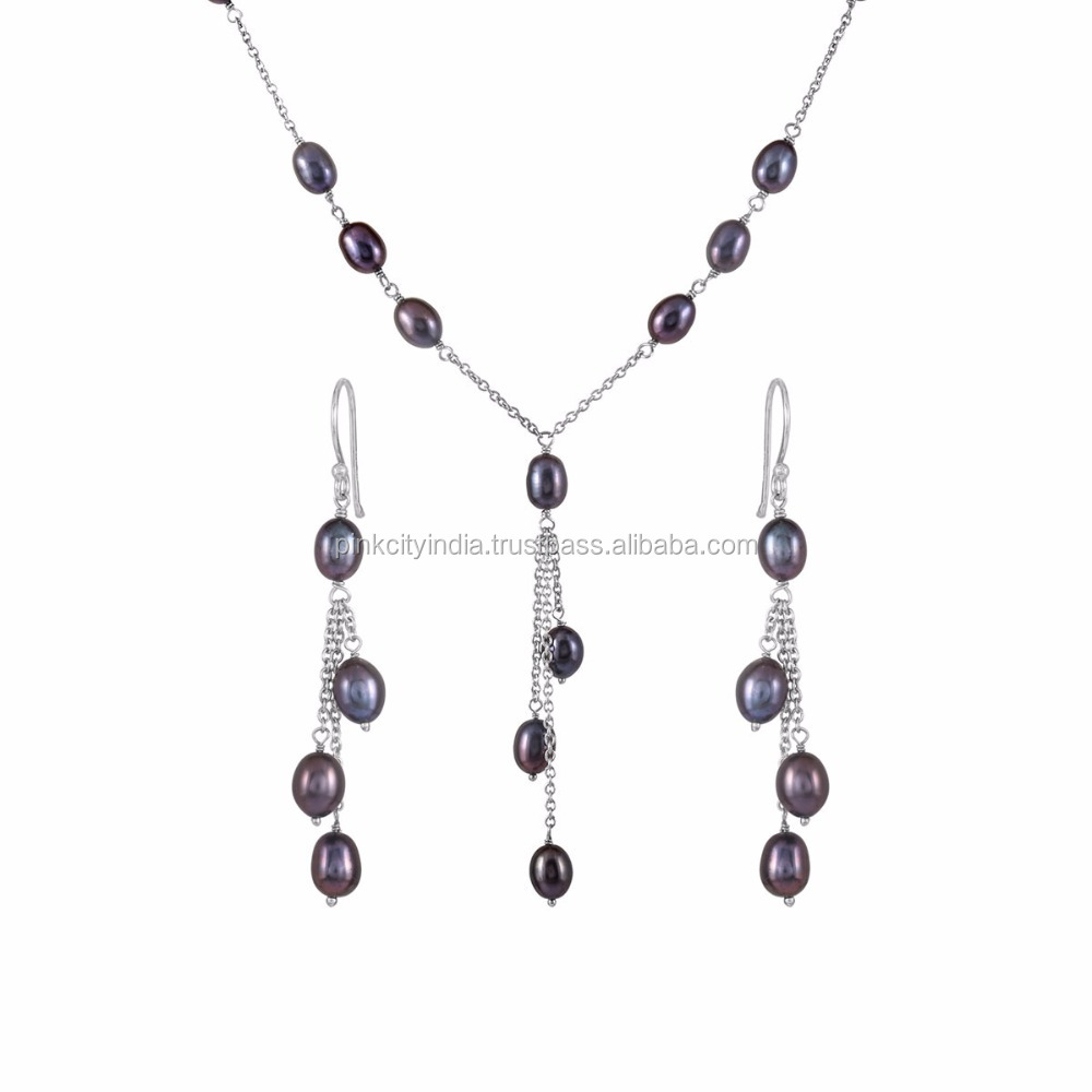 Rhodium Flash Sterling Silver With Blue Cultured Pearl jewelry set